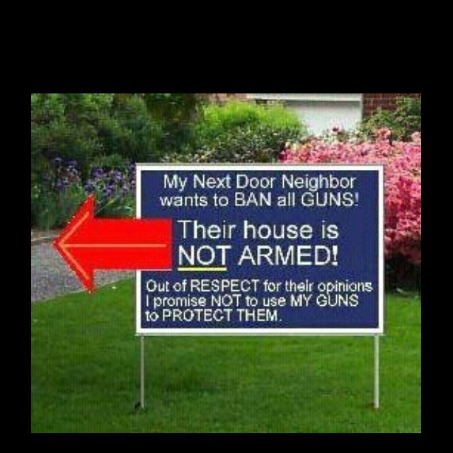 """And the neighbors sign reads:  """"My next door neighbor wants to block the ban on guns! Their house is full of guns, rifles, shotguns, handguns, bullets, gunpowder, ammunition of all kinds! If you make him mad, he'll shoot you!"""".  Both arguments are idiotic and childish."""