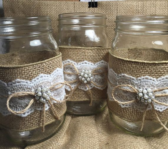 Set of 3 Burlap Mason jar Rustic wedding by ElianasTreasures