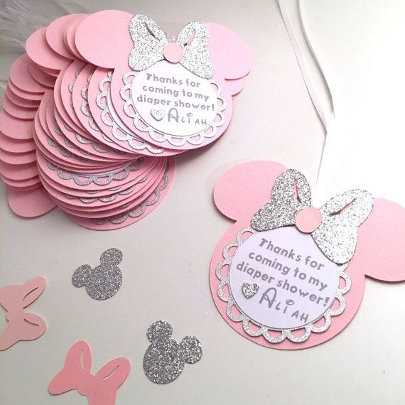 Minnie gracias etiquetas / plata y rosa / por GreatCrafternoon