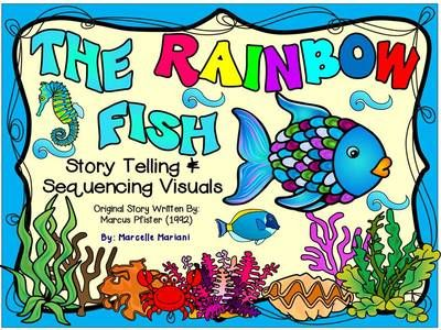 The Rainbow Fish by Marcus Pfister- Story Telling Sequencing and Printables FREE! -  Story telling is a key aspect in developing language acquisition, critical thinking skills and oral comprehension and I create many visuals for my kindergarten students to facilitate engaging them in the wonderful world of words and books.