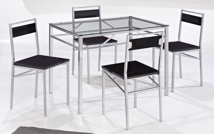 Tokyo  A simply styled yet elegant looking set, constructed from trendy, silver coloured, square metal tubing with black, wood effect chair backs and solid seats and an 8mm tempered glass table top.  Table Dimensions: L1100mm x W750mm x H755mm Chair Dimensions: W398mm x D456mm x H850mm