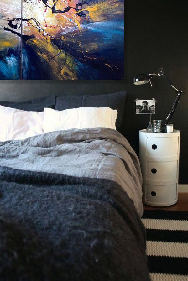 Bedding, rug, lamp, great accessories for bachelor pad! #bachelor
