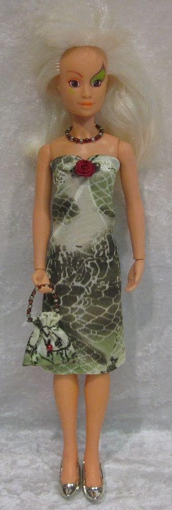 JEM, HOLOGRAMS, MISFITS Doll Clothes #27 Dress, Purse & Beaded Necklace Set #HandmadebyESCHdesigns