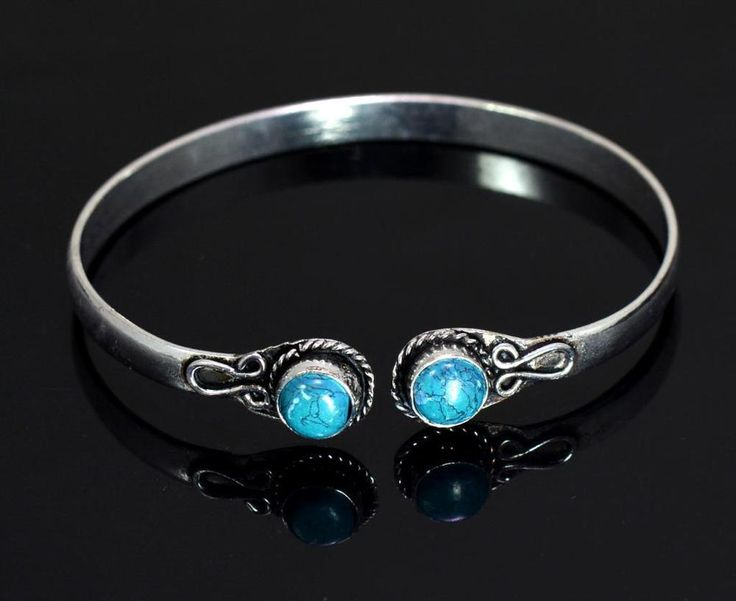 A Turquoise Gemstone Turkish Victorian Style 925 Silver Plated Designer Bracelet #krishnagemsnjewels #Bangle