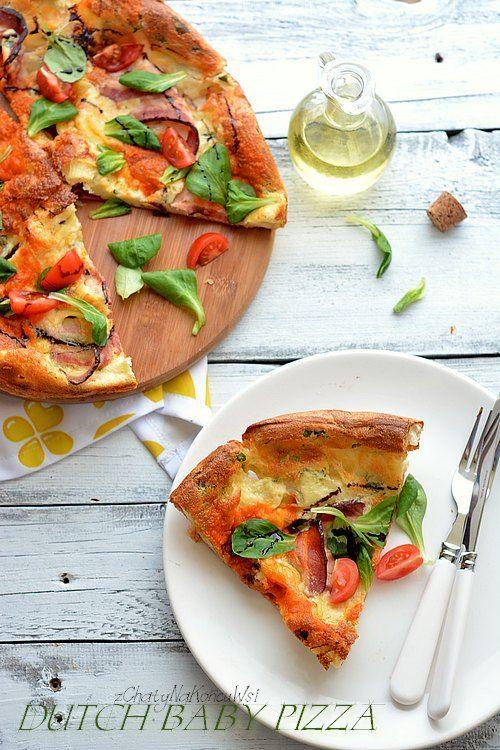 Dutch baby pizza. Pieczony naleśnik a'la pizza. Naleśnik z mozzarellą. Naleśniki po włosku.