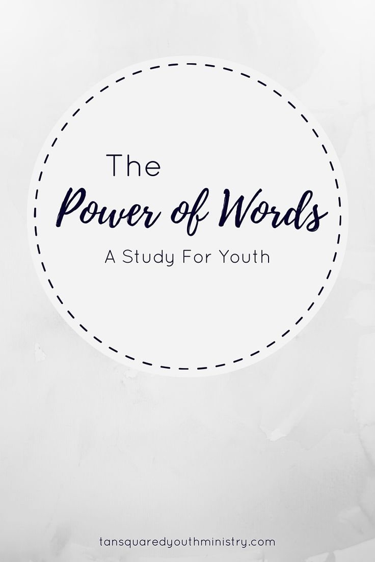 Everything you need to run your own amazing youth study sessions on the topic of the power of words! Tansquared Youth Ministry