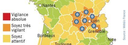#Neige : 8 départements du Centre-Est en alerte orange