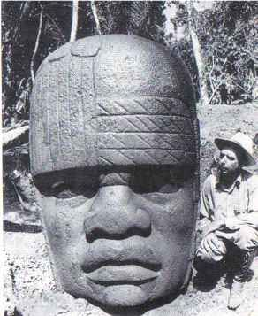 One of the famous Olmec heads found in Mexico from around 900-600 B.C. Supporting claims that Africans had traveled to Mesoamerica at least a thousand years before Columbus.