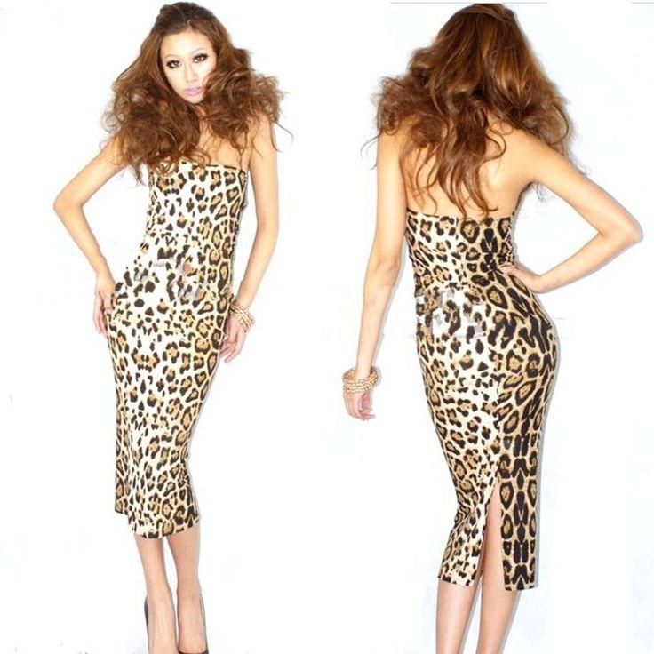 Sexy Bodycon Women s Dress Leopard Animal Print Evening Dress Strapless With Back Split