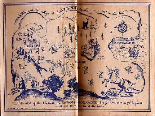 Map of Moonacre from the Little White horse by Elizabeth Goudge -Ihave read everything she wrote, have most of them, this was the first and remains a favourite -and I love books with maps.....