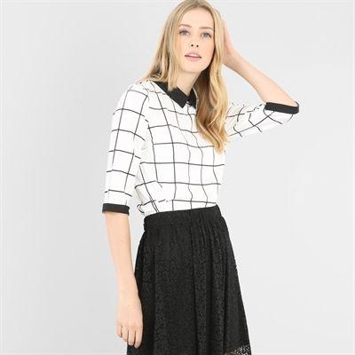 Pimkie.fr : On aime l'esprit 70's de la blouse à carreaux. A mixer avec un pantalon taille haute ou une jupe trapèze.
