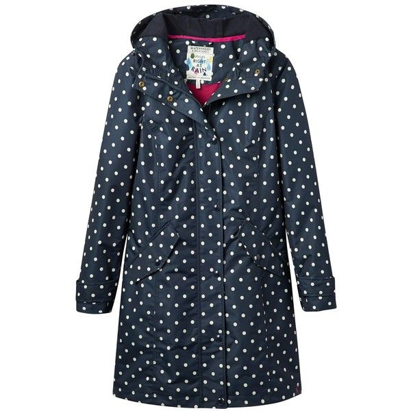 Joules Right as Rain Windermere Spot Waterproof Coat, Navy ($200) ❤ liked on Polyvore featuring outerwear, coats, jackets, navy coat, polka dot coat, water proof coat, waterproof coat and long sleeve coat