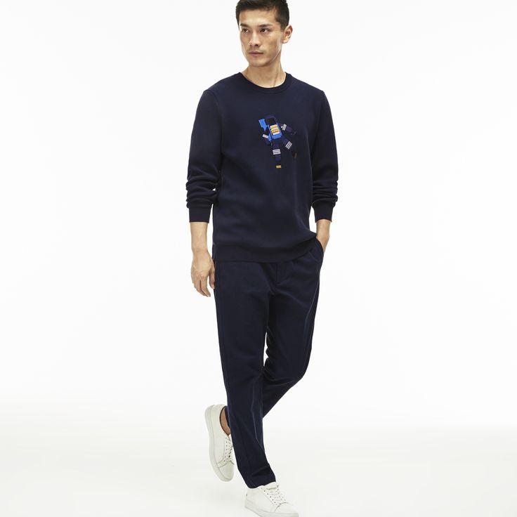 LACOSTE Men's Slim Fit Elasticized Cotton Twill Chino Pants - philippines blue/black. #lacoste #cloth #