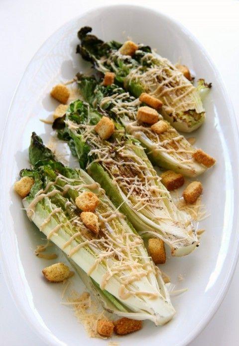 Grilled Caesar Salad -- smoky, crunchy, salty, perfect! | ShockinglyDelicious.com #SundaySupper #GalloFamilyVineyards #Saladrecipe #grilling #summer #vegetarian