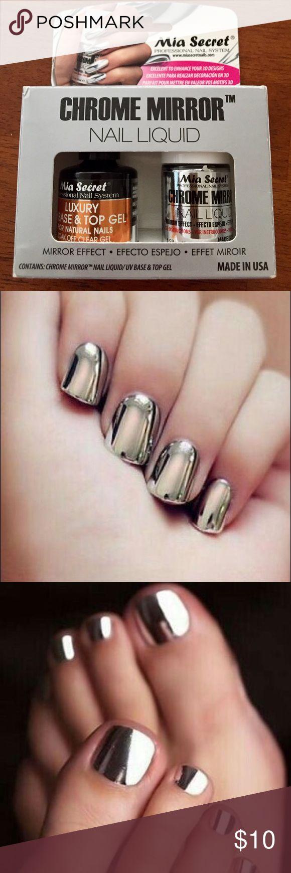 Mia Secret CHROME MIRROR nail polish CHROME MIRROR Nail Liquid. Mia Secret Professional Nail System.  Box contains: Chrome Mirror™ Nail Liquid and Luxury UV Base & Top Gel.  Made in USA  Mai Secret Professional Nail System Other