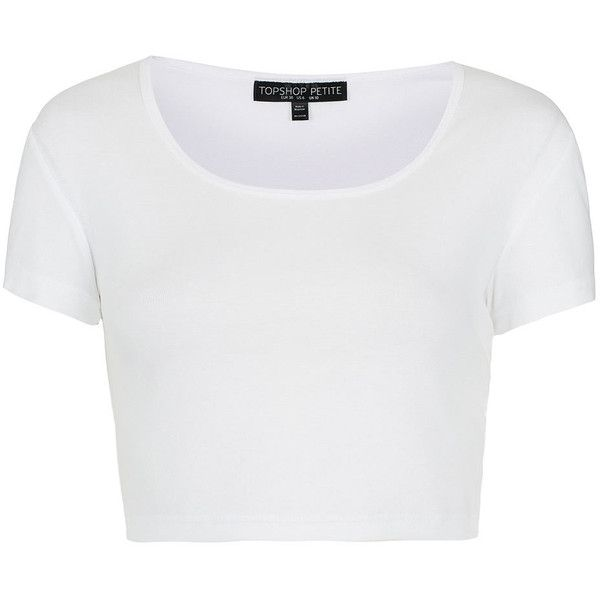 TOPSHOP Petite Crop Top ($16) ❤ liked on Polyvore featuring tops, shirts, crop tops, t-shirts, white, shirt crop top, shirts & tops, crop shirts, white cotton tops and white shirt