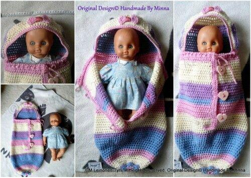Vrikattu Vaunupussi, makuupussi. Crochet sleeping bag for baby's
