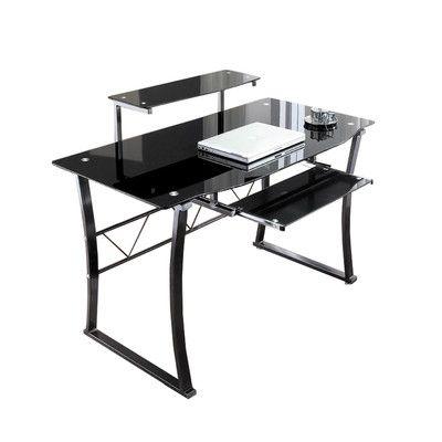 Metal and Black Glass Computer Desk