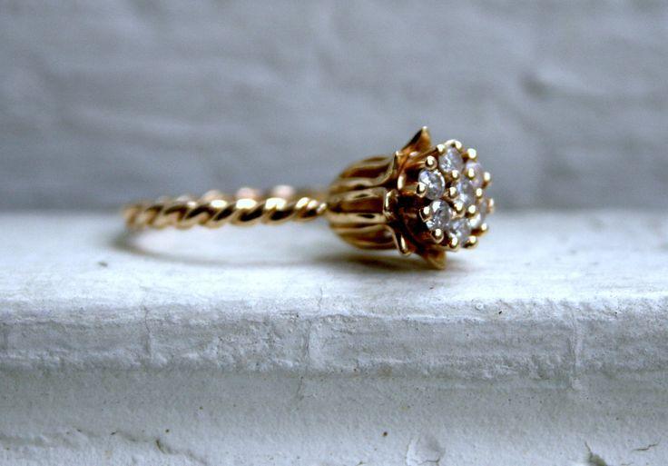 Vintage Yellow Gold Diamond Flower Engagement Ring