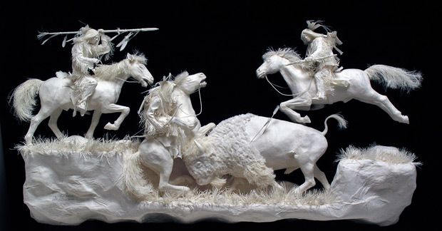 Paper art of Native American indians made by Allen and Patty Eckman