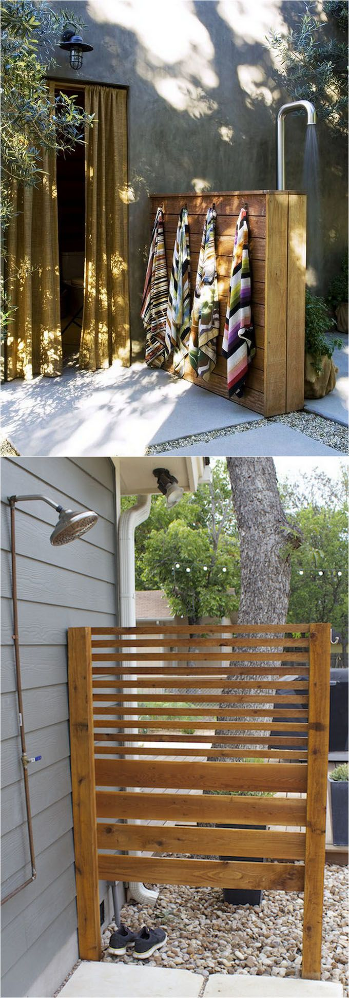 32 DIY outdoor showers: how to build enclosures with simple materials, best outdoor shower fixtures, creative designs and more! - apieceofrainbow.com