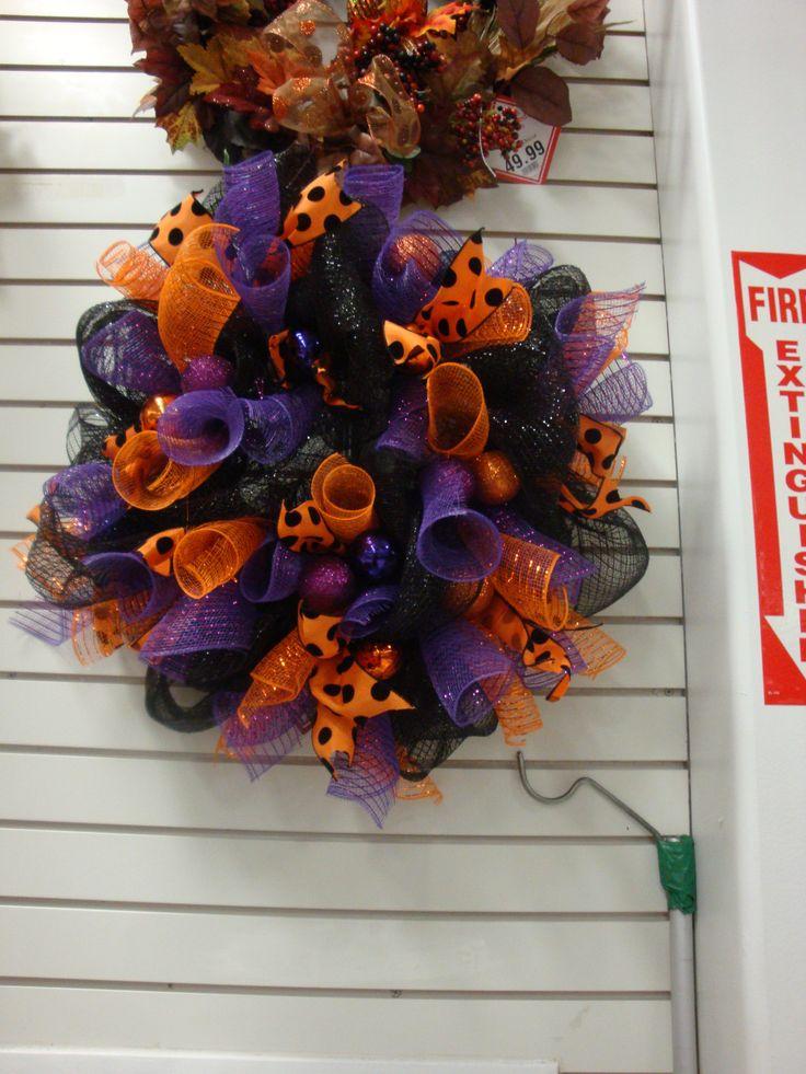 Halloween deco mesh wreath designed by christine lucas