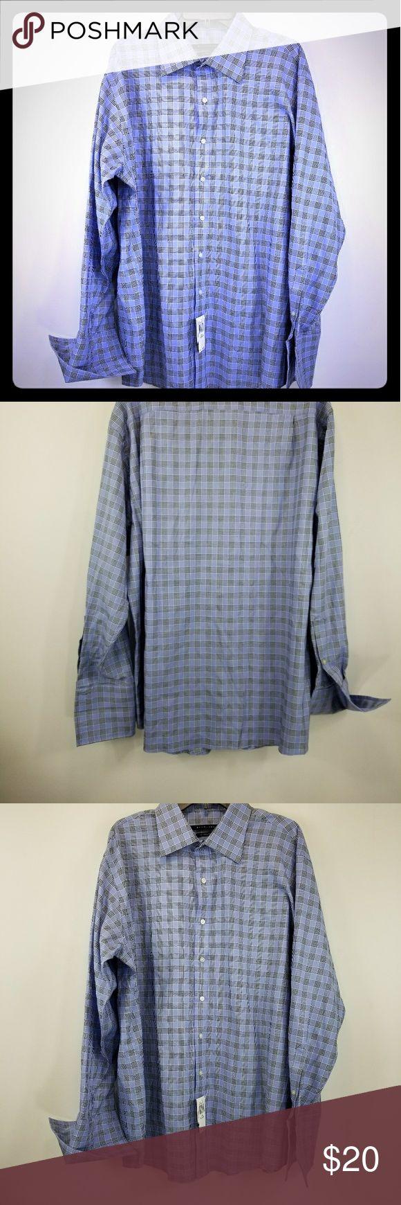 Sean John Blue Checkered XL Dress Shirt NWT 18 This is New With Tags Sean John Blue Checkered Tailored Fit dress shirt. Does not come with cufflinks. The size is XL 18 34/35. New with Tags Sean John Shirts Dress Shirts