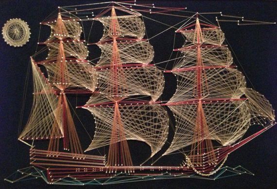 Custom Framed 70s String Art Sailing Ship | String art ...