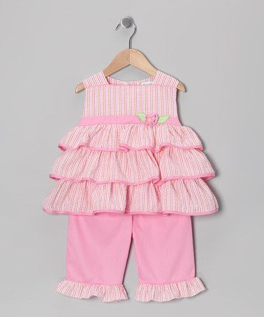 Another great find on #zulily! Pink Seersucker Tiered Tunic & Capri Pants - Infant & Toddler #zulilyfinds