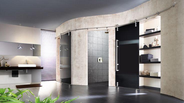 Schiebetürsystem Vario von TORDA.Das System ist auch für runde Türblätter geeignet. Die Laufschiene kann an Wand und Decke sowie an...