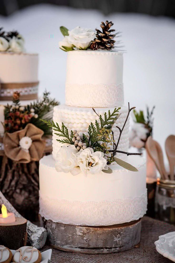83 best rustic winter weddings images on pinterest winter weddings fabulous three tiered winter wedding cakes junglespirit Images