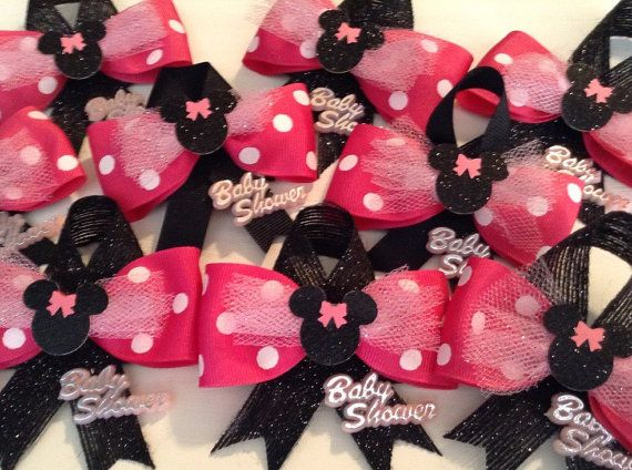 Bow Baby Shower Guest Pins Pink And Black Bows Girl