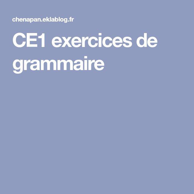CE1 exercices de grammaire