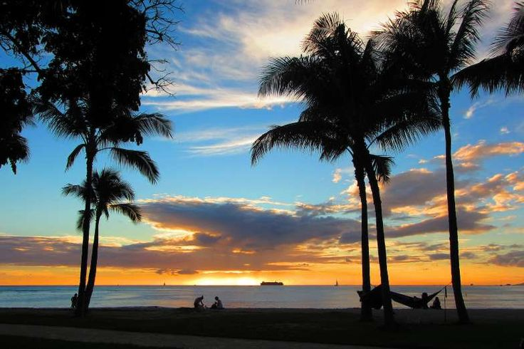 Oh, I see you rolling your eyes at my Captain Obvious suggestion, but it has to be said. The beach i... - Waikiki Beach, Honolulu, at sunset.