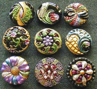 Collection of 9 Czech Antique 1920's Glass Buttons  A528 RARE...these are gorgeous...