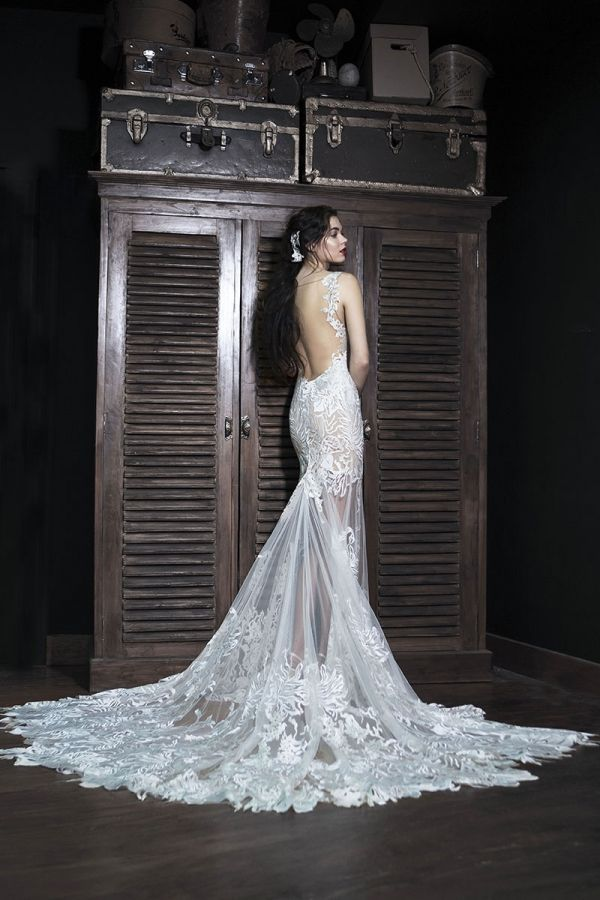 Silver mermaid dress with beaded applique Chantilly lace