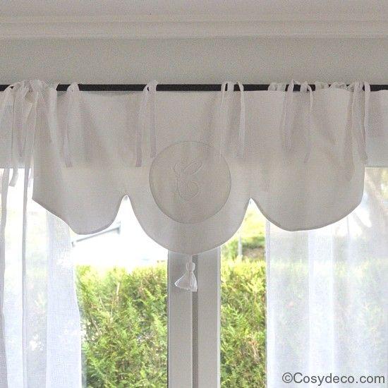 Rideau cantonni re coton blanc monogramme brod linge - Linge de maison ancien ...