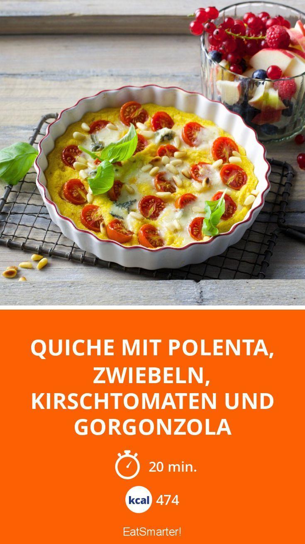 Quiche mit Polenta, Zwiebeln, Kirschtomaten und Gorgonzola | Kalorien: 474 Kcal - Zeit: 20 Min. | eatsmarter.de
