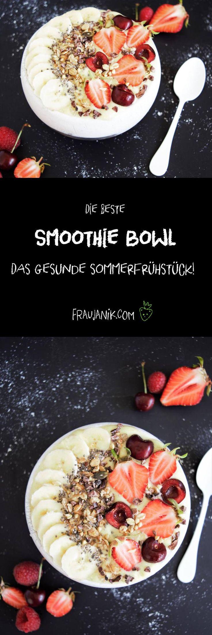 Smoothiebowl! DER Foodtrend! Wie der Name schon sagt, ist die Grundlage dieser Bowl = Schüssel ein Smoothie. Dieser ist aber etwas dickflüssiger als ein normaler Smoothie, damit die Toppings in Form von Knuspermüsli, Früchten, Beeren, Samen, Nüssen usw.