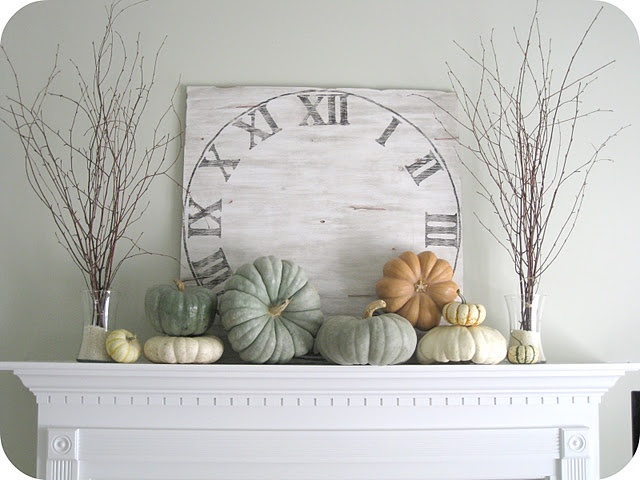 vintage clock background idea. / also great fireplace display idea