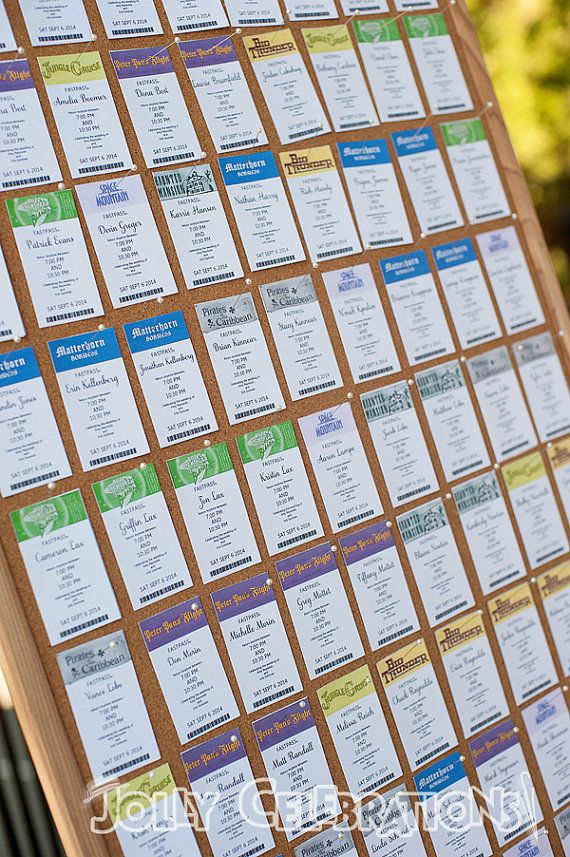 Custom Disney Fastpass Seating Cards Table by JollyCelebrations