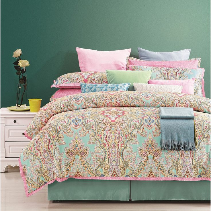 everrouge palace 8 piece cotton comforter set king pink and lime green