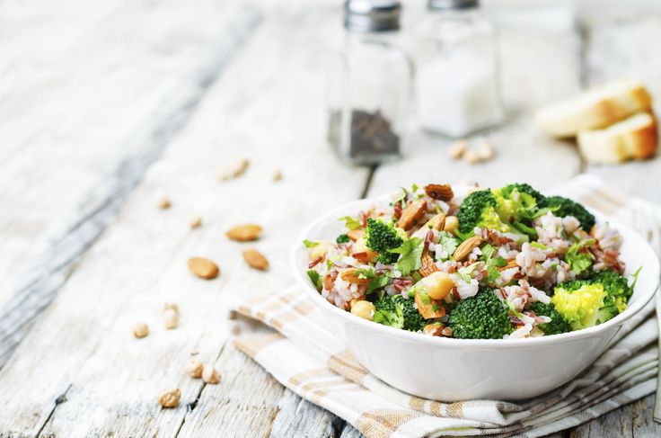 Broccoli, Chickpea & Rice Salad. Goes perfectly with our NEW Curry and Vegetable Chicken Pot Pie.