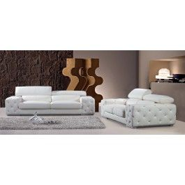 2726B Modern White Tufted Leather Sofa Set w/ Headrests and Tufted Artificial Crystals  -