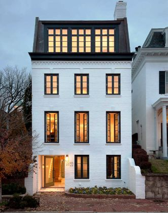 Rixey Architects - Georgetown townhouse.  I love those 2nd floor French doors.