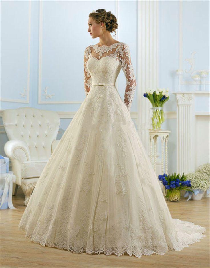 2016 Wedding Dress Vestido de Noiva Bridal Gown Long Sleeve with Lace Appliques Lace up Back