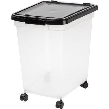 Iris 65 qt Airtight Pet Food Container, Black