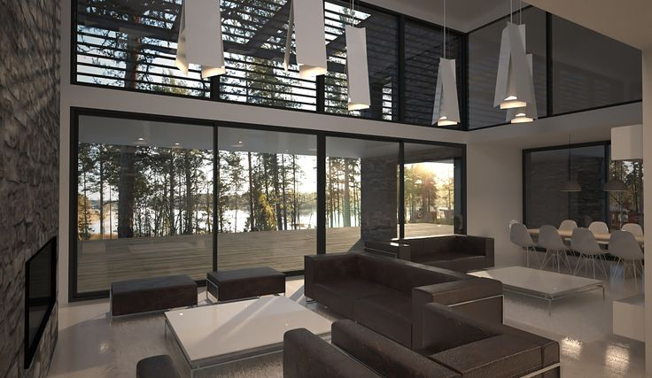 Livingroom. Luxury house in the archipelago.