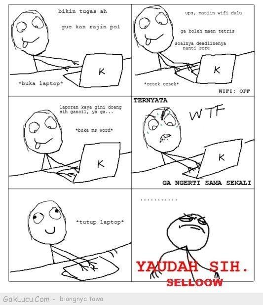 Lelucon berjudul Mahasiswa Galau yang dibuat oleh Tpao di www.GakLucu.com. Temukan juga lelucon lain yang mirip.