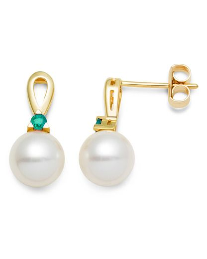 Ohrhänger aus Gold mit Smaragden & Süßwasserperlen VALERIA 5420053371394